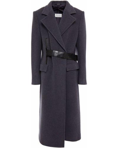 Фиолетовое кожаное пальто с карманами Maison Margiela