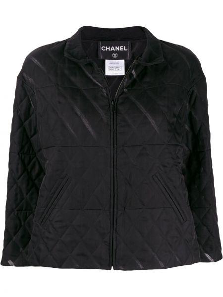 С рукавами черная стеганая куртка на молнии с воротником Chanel Pre-owned