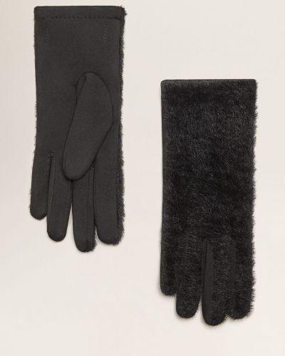 Черные перчатки текстильные Mango