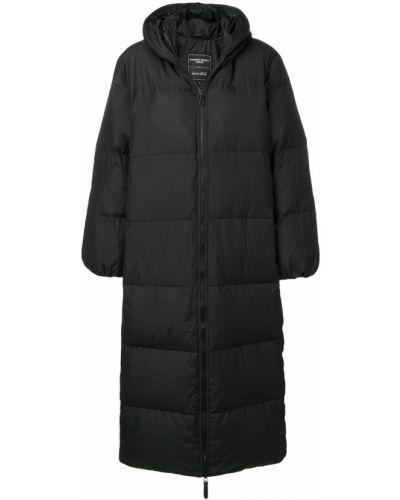 Черное длинное пальто с капюшоном Duvetica