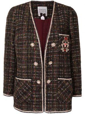 Черный удлиненный пиджак твидовый с вышивкой Edward Achour Paris