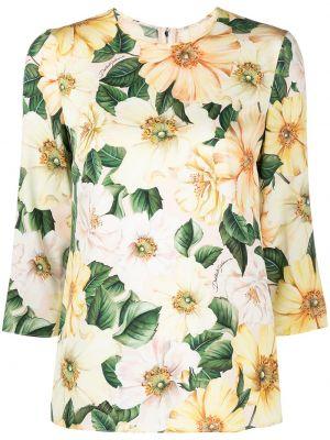 С рукавами желтая шелковая блузка Dolce & Gabbana