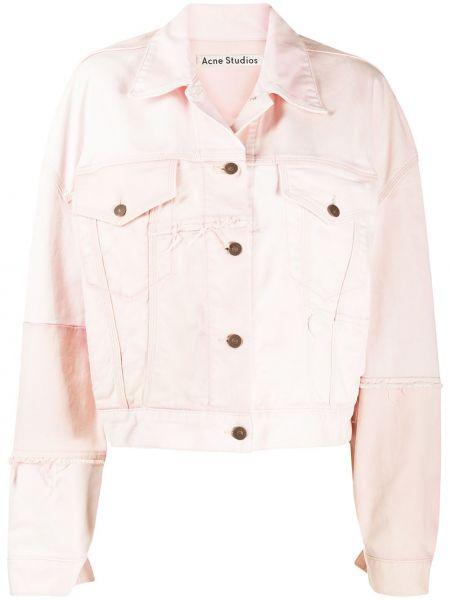 Джинсовая куртка длинная розовая Acne Studios