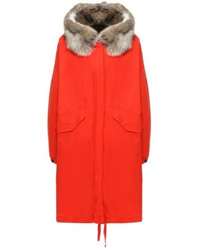 Куртка с капюшоном из кролика красная Lempelius