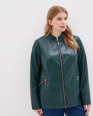 Кожаная куртка осенняя зеленая Jp