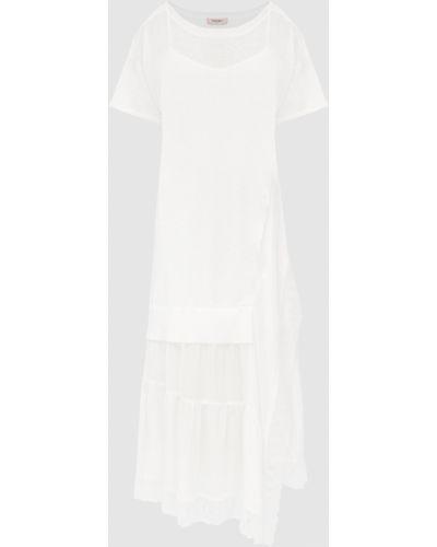 Комбинированное бежевое платье миди Twin-set