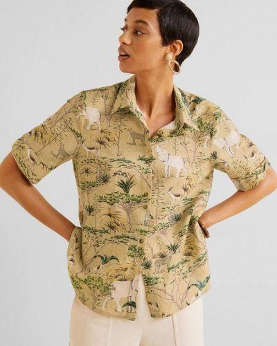 Рубашка с коротким рукавом турецкий бежевый Mango