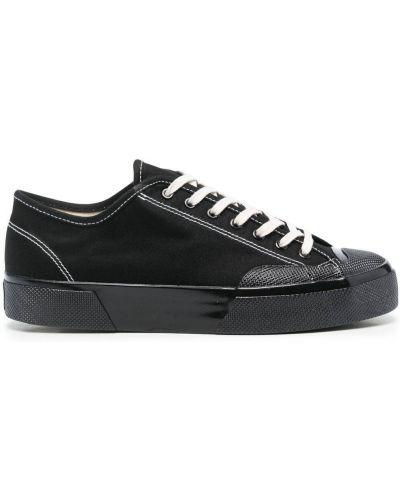 Кружевные черные кроссовки на шнурках Superga