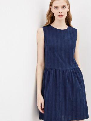 Прямое синее платье А-силуэта Shovsvaro