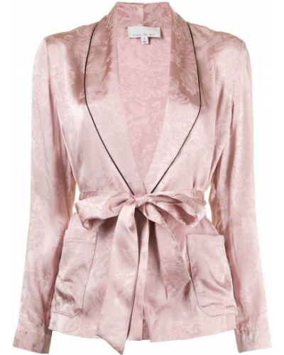 Шелковый розовый удлиненный пиджак с лацканами Fleur Du Mal