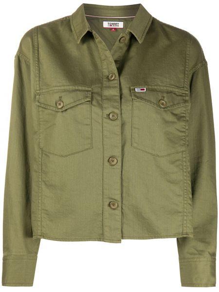 Зеленая с рукавами джинсовая рубашка с воротником Tommy Jeans