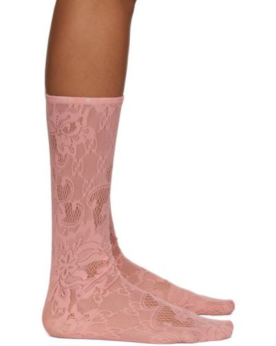 Różowe skarpety koronkowe sznurowane Gucci