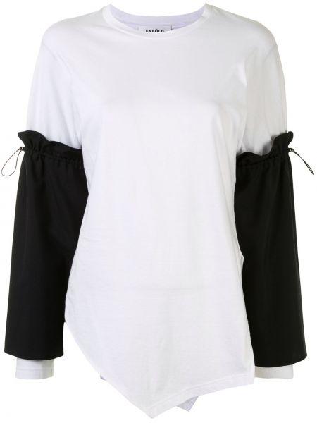 Biały bawełna asymetryczny koszula okrągły dekolt Enfold
