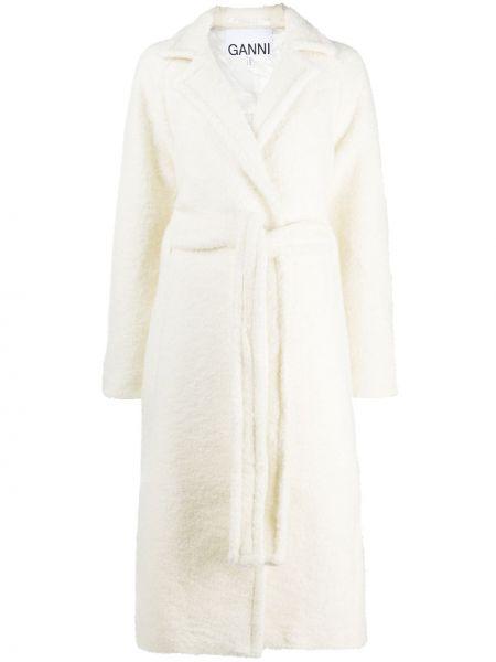 Длинное пальто букле с запахом с рукавом реглан Ganni