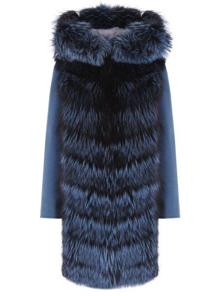 Свободное бирюзовое шерстяное пальто классическое с воротником Manzoni 24