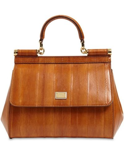 С ремешком маленькая сумка из натуральной кожи золотая Dolce & Gabbana