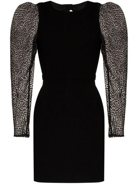 Черное с рукавами платье мини из фатина Haney