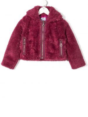 С рукавами розовая куртка с карманами с воротником Raspberry Plum