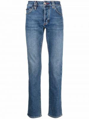 Niebieskie mom jeans bawełniane Philipp Plein