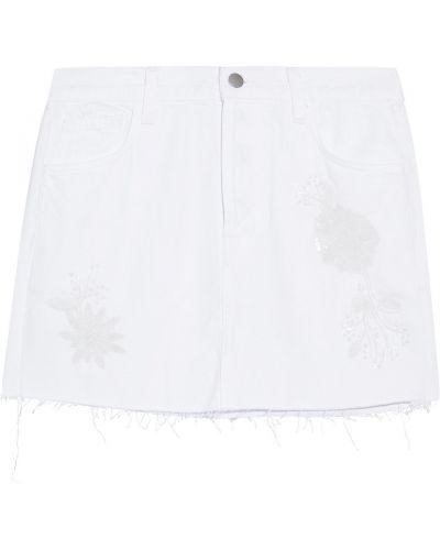 Niebieska spódnica mini z cekinami z paskiem J-brand
