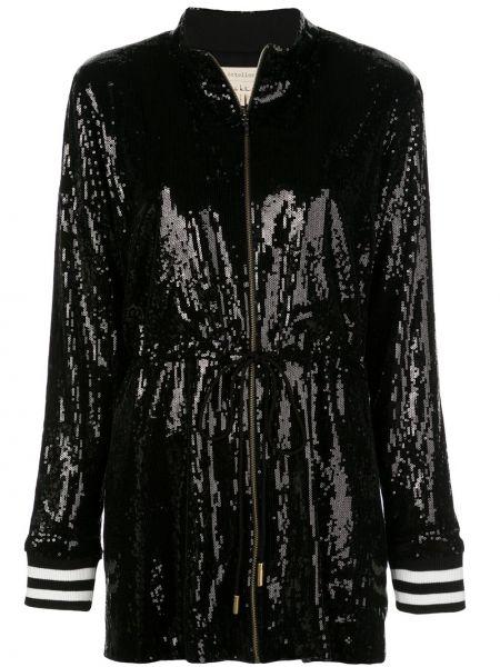 Prążkowana czarna długa kurtka z długimi rękawami Nicole Miller