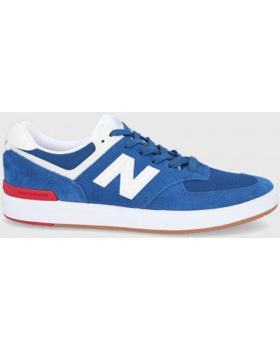 Niebieskie sneakersy skorzane sznurowane New Balance