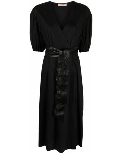 Черное платье мини с запахом с поясом Twin-set