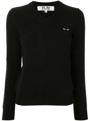 Черный свитер с V-образным вырезом в рубчик с вышивкой Comme Des GarÇons Play