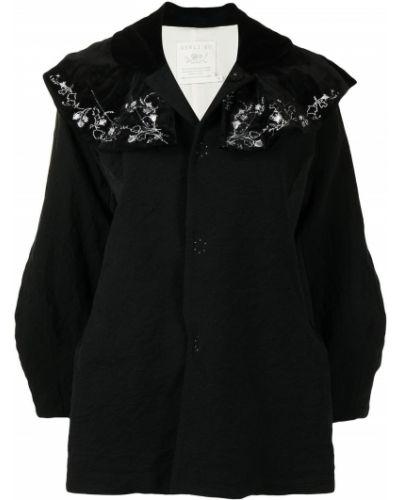 Черное длинное пальто с воротником с вышивкой Renli Su