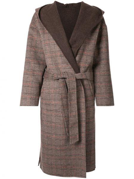 Шерстяное длинное пальто с капюшоном айвори Loveless