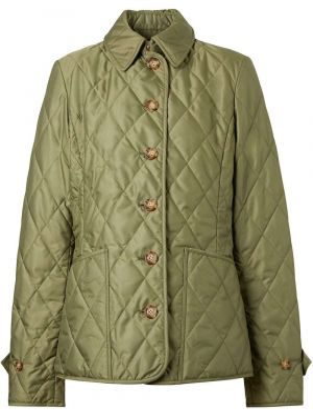 Классическая зеленая стеганая куртка с воротником на пуговицах Burberry