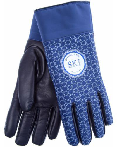 Кожаные перчатки итальянские с узором Stefano Ricci