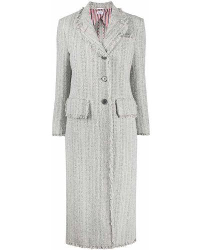 Серое шерстяное вязаное длинное пальто Thom Browne