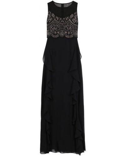 Вечернее платье приталенное с оборками с бисером Basix Black Label
