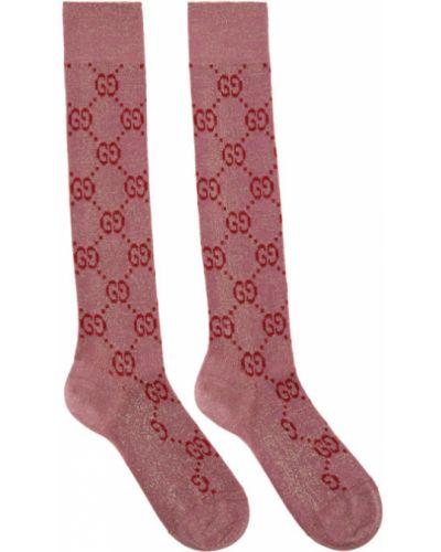 Złote różowe wysoki skarpety Gucci