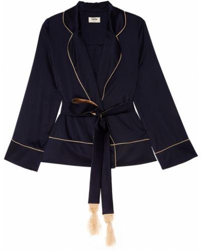 Синий удлиненный пиджак с поясом с воротником Izeta