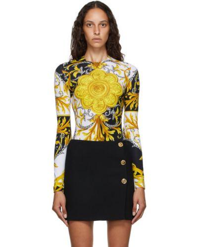 С рукавами желтое нейлоновое боди с длинными рукавами с воротником Versace