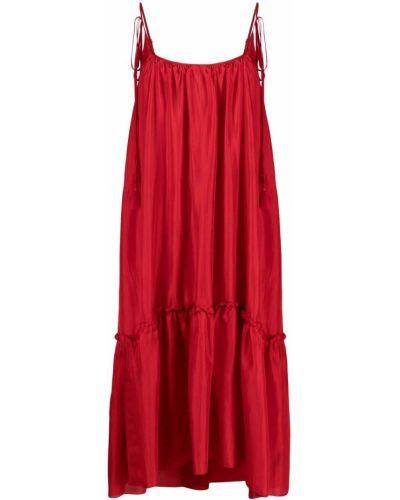 Шелковое красное платье миди трапеция P.a.r.o.s.h.