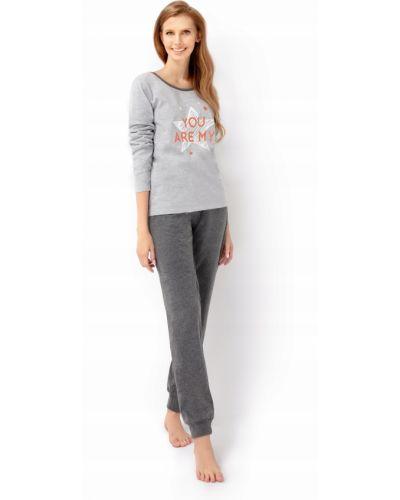 Szara piżama bawełniana z długimi rękawami Envie