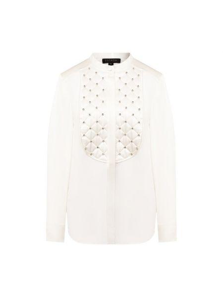 Белая шелковая блузка с декоративной отделкой Escada