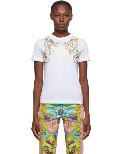 Трикотажная белая джинсовая рубашка с воротником Versace Jeans Couture