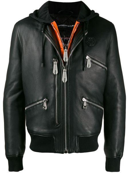 Czarna kurtka skórzana z kapturem Philipp Plein