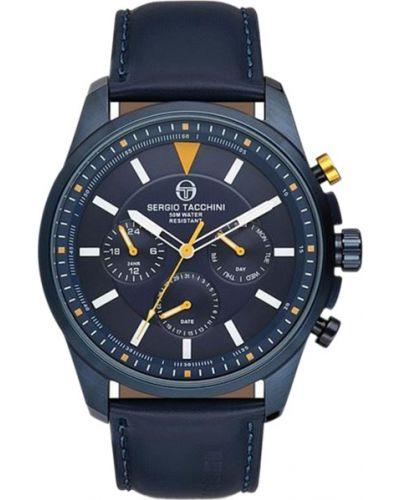 Часы водонепроницаемые с кожаным ремешком круглые Sergio Tacchini