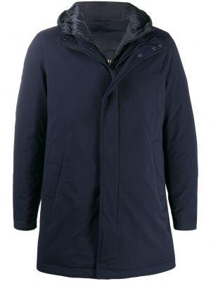 Синее пуховое длинное пальто с капюшоном Herno