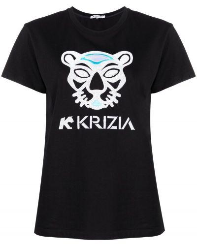 Хлопковая черная футболка с вырезом Krizia