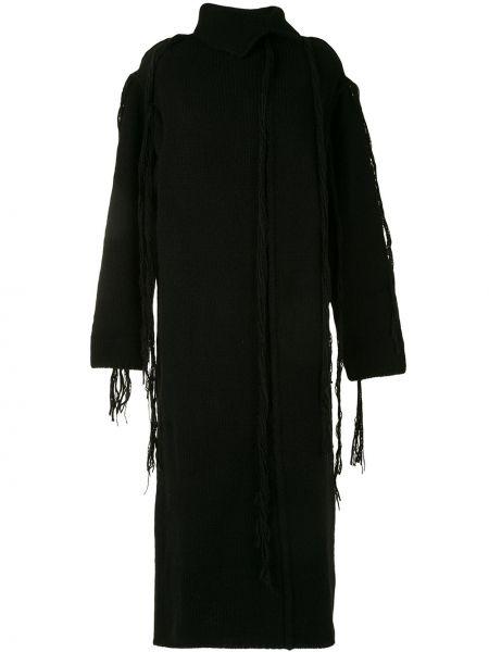 С рукавами черное платье миди с бахромой с воротником Yohji Yamamoto
