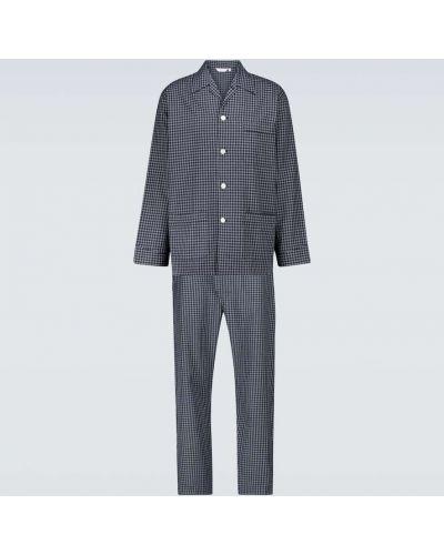 Синяя пижамная хлопковая пижама с рубашкой Derek Rose