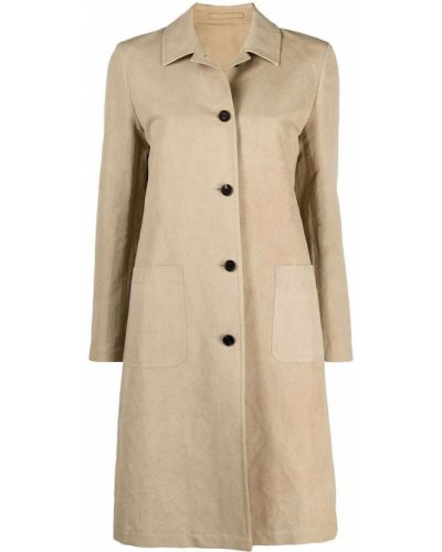 Прямое бежевое пальто классическое с воротником Lardini