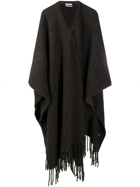 Асимметричное коричневое кашемировое длинное пальто Co