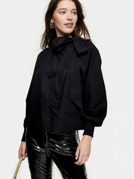 Блузка с бантом черная Topshop